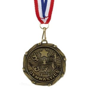 """Gymnastics Female Combo Medal 45mm (1.8"""") with Ribbon"""