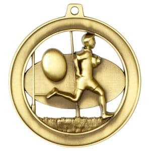 """Halo Rugby Medal 55mm (2.17"""") Gold"""