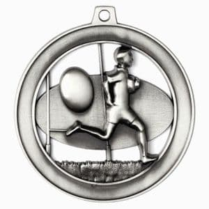 """Halo Rugby Medal 55mm (2.17"""") Silver"""