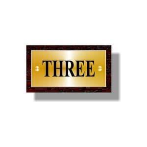 """House Number Brass Sign on Wood Backboard 180mm (7"""") x 100mm (4"""")"""