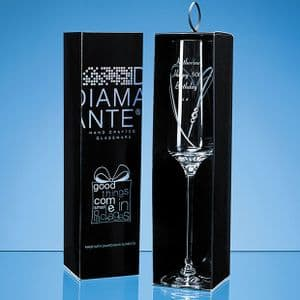Just For You' Diamante Champagne Flute with Heart Shaped Cutting