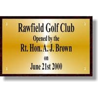 """Large Brass Sign / Plaque on Wood Backboard  400mm (15.75"""") x 260mm (10.25"""")"""