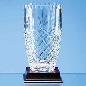 "Lead Crystal Panelled Barrel Vase 190mm (7.5"")"