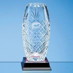 "Lead Crystal Panelled Oval Vase 225mm (8.9"")"