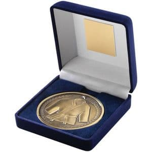 "Martial Arts 70mm (2.75"") Medallion in Blue Velvet Box - Antique Gold"