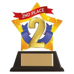 """Mini-Star 2nd Place Acrylic Plaque 100mm (3.9"""")"""