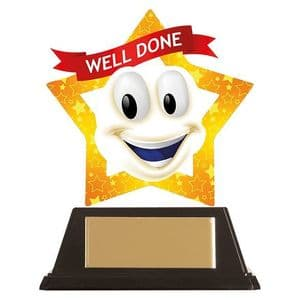 """Mini-Star Well Done Smile Acrylic Plaque 100mm (3.9"""")"""