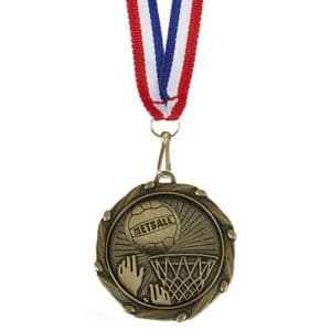 "Netball Combo Medal 45mm (1.8"") with Free Ribbon"
