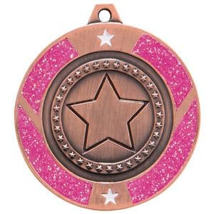 "Pink Glitter Star Medal Bronze 50mm (2"")"