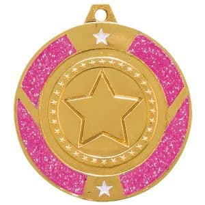 "Pink Glitter Star Medal Gold 50mm (2"")"