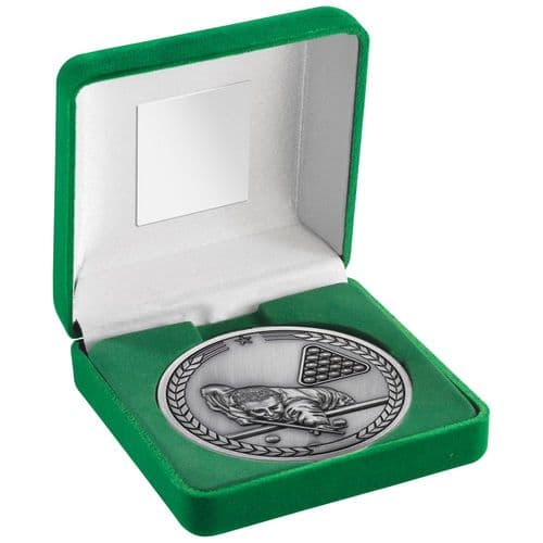 Pool/Snooker 70mm Silver Medallion in Green Medal Box