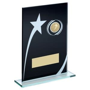 """Printed Glass Plaque With Rugby Insert Trophy - 184mm (7.25"""")"""