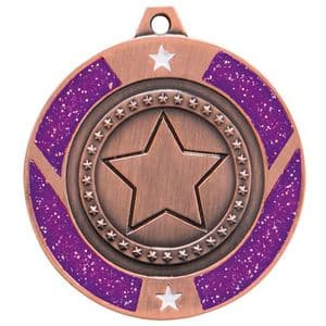 "Purple Glitter Star Medal Bronze 50mm (2"")"
