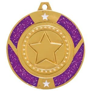 "Purple Glitter Star Medal Gold 50mm (2"")"