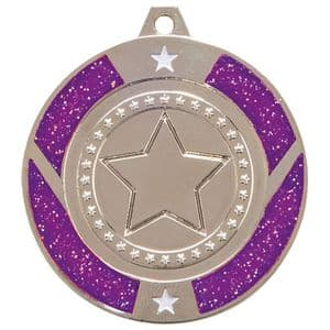 "Purple Glitter Star Medal Silver 50mm (2"")"