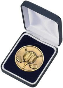 Quality High Relief Gold Golf Medal and Box 60mm