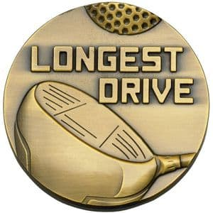 Quality High Relief Gold Longest Drive Medal 60mm