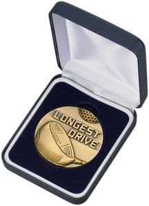 Quality High Relief Gold Longest Drive Medal and Box 60mm