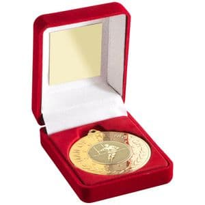 Red Medal Box+ Gold Man of the Match Rugby 50mm Medal Award