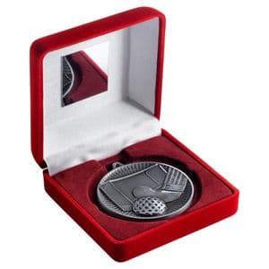 """Red Velvet Box 102mm (4"""") with Antique Silver Hockey Medal 60mm (2.4"""")"""