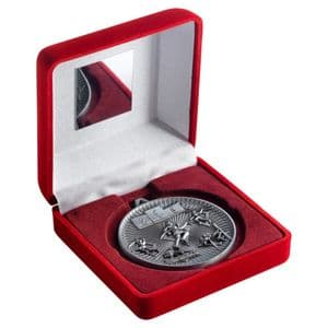 """Red Velvet Box 102mm (4"""") with Antique Silver Multi Athletics Medal 60mm (2.4"""")"""