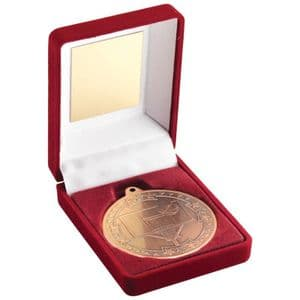 "Red Velvet Box and Bronze Basketball Medal Trophy 50mm (2"")"