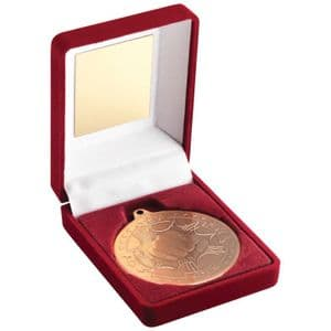 "Red Velvet Box and Bronze Martial Arts Medal Trophy 50mm (2"")"