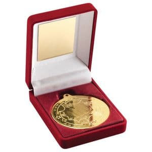 "Red Velvet Box Gold Martial Arts Medal Trophy 50mm (2"")"