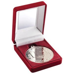"Red Velvet Box Silver Basketball Medal Trophy 50mm (2"")"