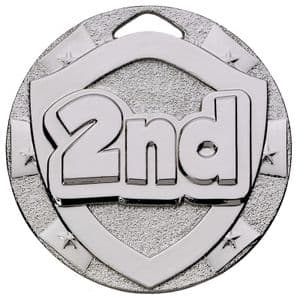 Silver 2nd Place Mini Shield Medal 50mm