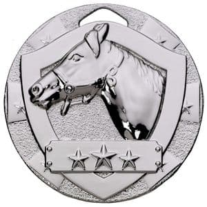 Silver Equestrian Mini Shield Medal 50mm