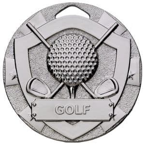 Silver Golf Mini Shield Medal 50mm