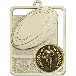 Silver Lynx Rugby Ball Medal 62mm