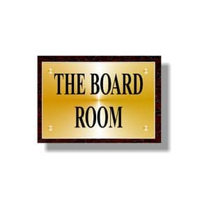 """Small Brass Sign Plaque on Wood Backboard 255mm (10"""") x 180mm (7"""")"""