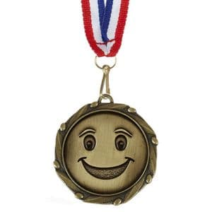 "Smiley Face Combo Medal 45mm (1.8"") with ribbon"
