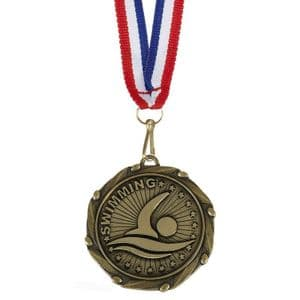 "Swimming Combo Medal 45mm (1.8"") with Free Ribbon"