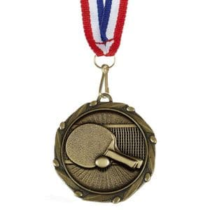 "Table Tennis Combo Medal 45mm (1.8"") with Ribbon"