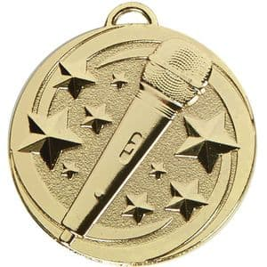 "Target Microphone Music 50mm (2"") Medal Gold"