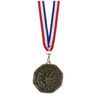 "Torch Combo Medal 45mm (1.8"") with Red White & Blue Ribbon"