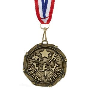 """Track and Field Combo Medal 45mm (1.8"""") with Red White and Blue Ribbon"""