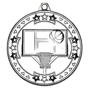 "Tristar Basketball 50mm (2"") Medal Silver"