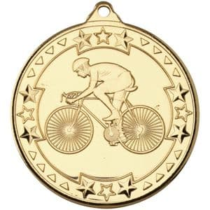 "Tristar Cycling 50mm (2"") Medal Gold"