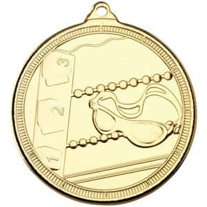 "Tristar Swimming Multi Line 50mm (2"") Medal Gold"