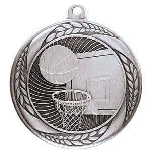 "Typhoon Basketball Medal Silver 55mm (2.1"")"