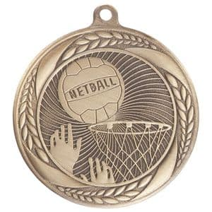 "Typhoon Netball Medal Gold 55mm (2.1"")"