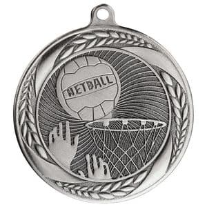 "Typhoon Netball Medal Silver 55mm (2.1"")"
