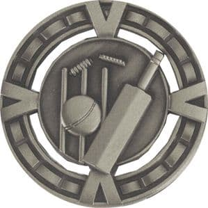 "Varsity Cricket Medal 60mm (2.35"") Silver"