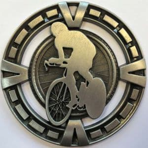"Varsity Cycling Medal 60mm (2.35"") Silver"