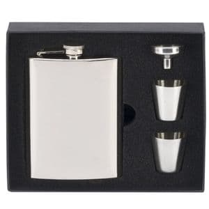 Vision 8oz Mirror Polished Hip Flask & Accessories
