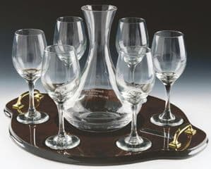 Wine Decanter and 6 Wine Glasses on Luxury Tray with Brass Handles